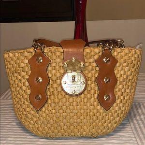 Michael Kors Leather and Natural Woven Handbag